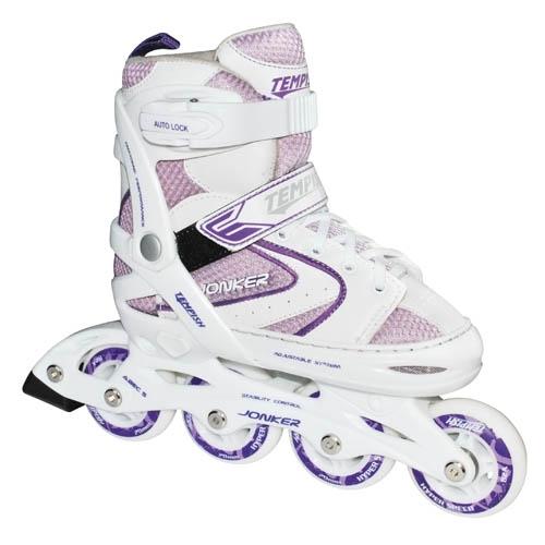 Dívčí kolečkové brusle pro malé děti, nastavitelné roztahovací brusle Tempish fialové/bílé - VÝPRODEJ