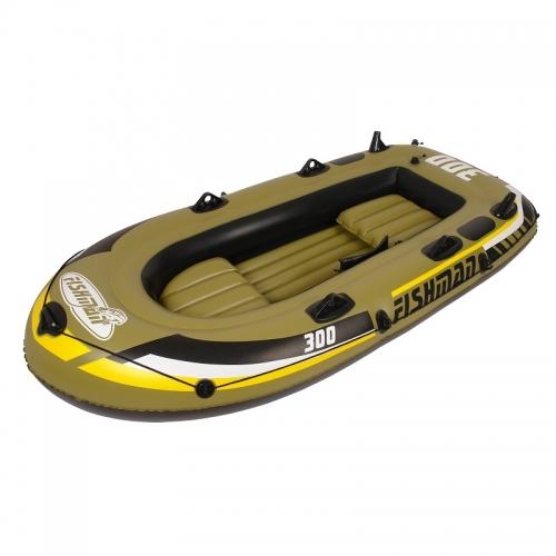 Rybářský člun Fishman pro 2-3 osoby, levné čluny nafukovací v setu pádla, pumpa, sedátka, provaz - AKCE
