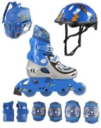 Dětské kolečkové brusle pro nejmenší + chrániče, helma, batoh, nastavitelná inline sada