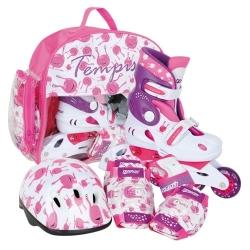 Dětské nastavitelné brusle + helma, chrániče, batoh UFO baby růžové