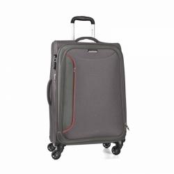 Textilní kufr na 4 kolečkách March Delta L, 78 cm šedý