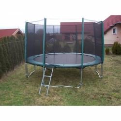 Velká zahradní dětská trampolína s ochrannou sítí 366 cm, schůdky a krycí plachta zdarma