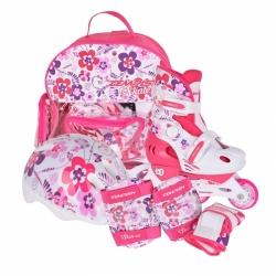 Baby skate sada Tempish dětské nastavitelné brusle, helma, chrániče, batoh motiv flower kytky