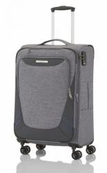 Střední cestovní kufr na 4 kolečkách Travelite Mare M Grey, textilní kufry se zvětšením objemu