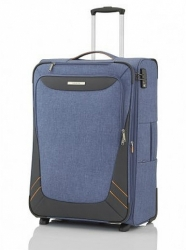 Textilní kufr na 2 kolečkách Travelite Mare L blue, velké rozšiřitelné cestovní kufry do letadla