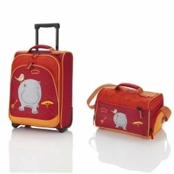 Dětské kufry a tašky, sada příruční kufřík a taška Travelite Youngster Hippo