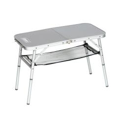Rozkládací hliníkový kempingový stolek, skládací stůl Coleman ALU s poličkou