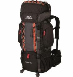 Turistický dvoukomorový batoh Loap 65L s pláštěnkou, zádový systém, černý